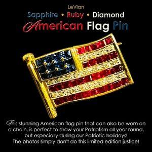 LeVian Sapphire Ruby Diamond American Flag Pin
